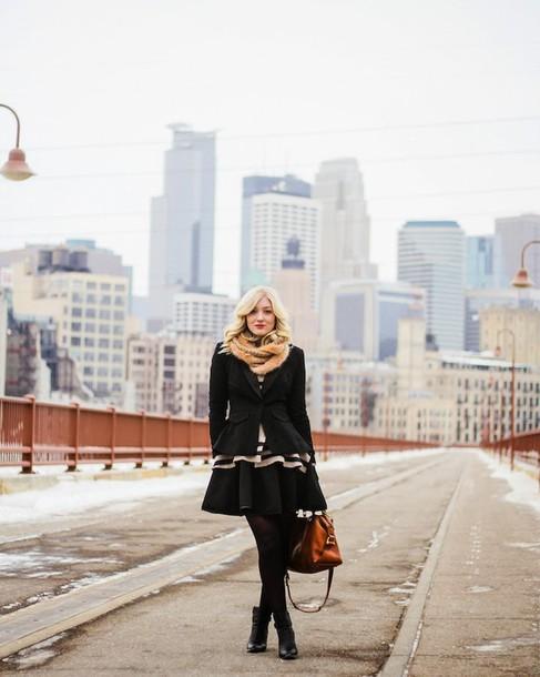 olivia shutey blogger black jacket fur scarf skater dress leather bag jacket scarf sweater dress shoes bag