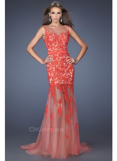 Scoop neckline with beautiful low back applique prom dresses