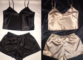 pajamas,silk,two-piece,set,satin,silk pajamas,satin pajama set,black,gold,top,cute,instagram,tumblr,black top,champagne,crop tops,sexy,pyjama shorts,underwear,silk gold short and top pyjamas,black and white,shorts,silk pink pajama set,tank top,comfy shorts,camisole,nude,black crop top,nude top,nude tank,black tank top,crop,cropped,comfy,cool,sleep,black shorts,nude short,short,short shorts,summer shorts,lingerie,lingerie set,silky,cotton,pjamas,silky pajamas,pants,bottom,lounge wear,black and gold,romper,spaghetti strap,tan