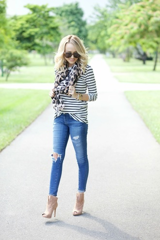 aspoonfulofstyle blogger scarf jeans shoes sunglasses long sleeves stripes striped top animal print ripped jeans skinny jeans nude boots nude shoes