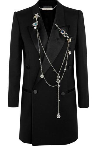 blazer embellished black silk wool jacket