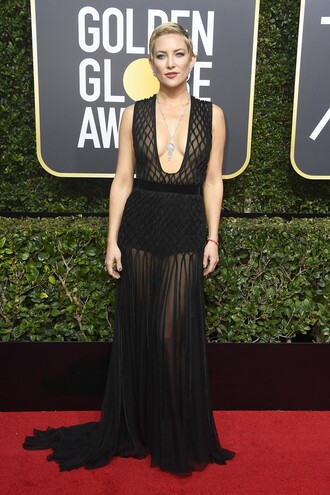 dress plunge dress plunge neckline black dress black gown prom dress red carpet dress golden globes 2018 see through see through dress kate hudson underwear
