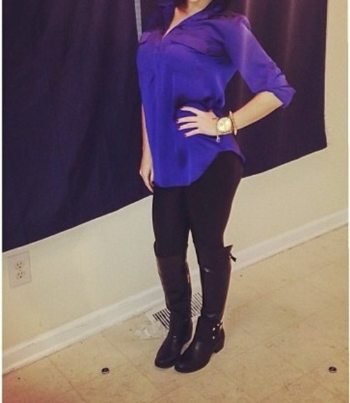 blouse blue blouse royal blue black leggings black boots