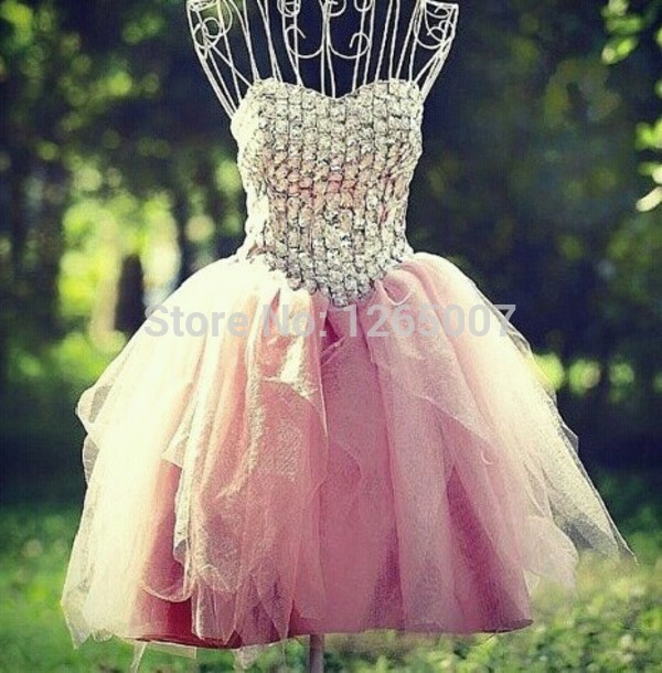 Aliexpress.com : Buy Sweetheart Silvery Beaded Diamond A Line Tulle Pink Mini Short Homecoming Dress New Fashion Cute Little Mini Dress Pink from Reliable dress 90 suppliers on SFBridal