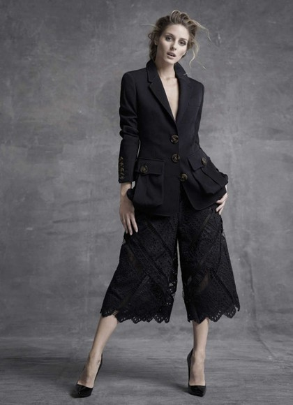 olivia palermo wide-leg pants crop pants black lace