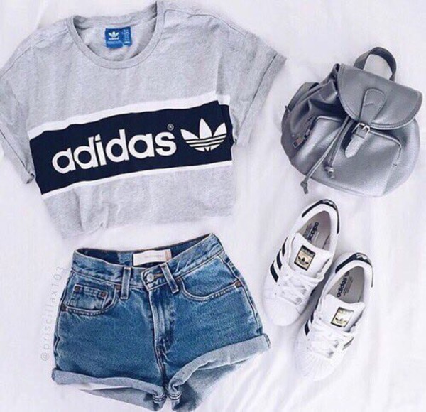shorts grey denim shorts High waisted shorts backpack white sneakers adidas grey top adidas shoes cropped silver t-shirt graphic tee tumblr