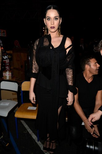 dress katy perry fashion week 2015 all black everything black blouse shoes sandals