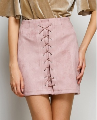 skirt girly pink bodycon lace suede suede skirt
