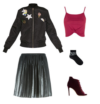 jacket black jacket bomber jacket patched jacket metallic metallic skirt burgundy burgundy top lace-up shoes black lace up boots