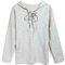 Grey loose casual hooded lace-up sweatshirt