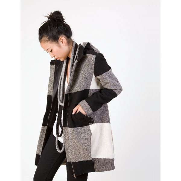 Jacket Coat Wool Black White Plaid Hoodie Coat Hooded