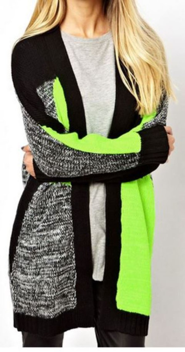 cardigan multi color cardigan loose fit cardigan green and black long sleeve cardigan www.ustrendy.com