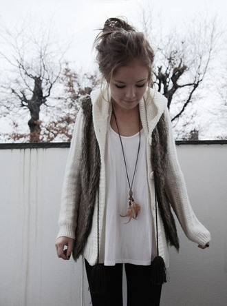 jacket white cardigan hood fur button up buttons hoodie faux fur vest sweater clothes winter outfits outfit jewels coat shirt cute blouse winter sweater cream hipster boho army green green military style snow cold knitwear fall outfits soft fall season fur vest necklace cream sweater comfy tumblr outfit pintrest so helpmefind vest brown jacket with hood warm