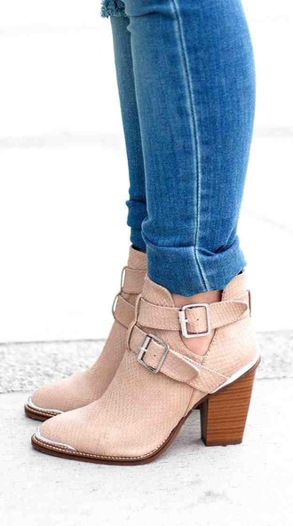 boots boots high heels pink pink shoes blush pink booties shoes booties with heals