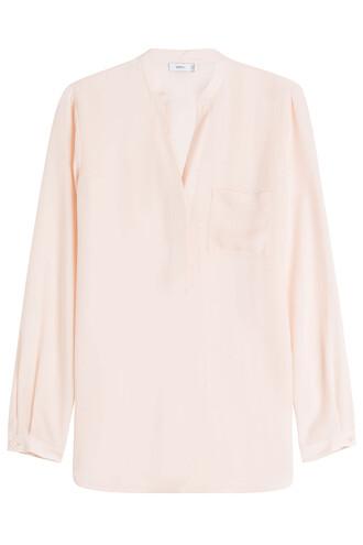 blouse silk beige top