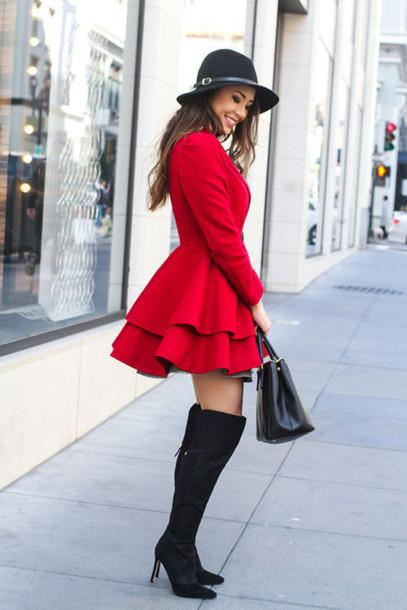 coat red red coat felt hat boots black