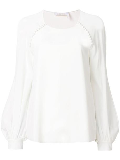 Chloe blouse women white silk top