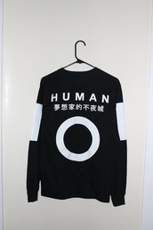 human,japenesewriting,top,humanity,black and white,black,japanese,japanese fashion,asian fashion,white,korean fashion,korean style,harajuku,asian,sweater,black sweater