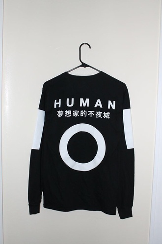 human japenesewriting top humanity black and white black japanese japanese fashion asian fashion white korean fashion korean style harajuku asian sweater black sweater