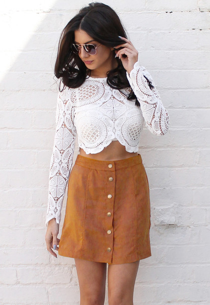 Skirt: one nation clothing, suede skirt, tan suede, tan skirt, tan ...