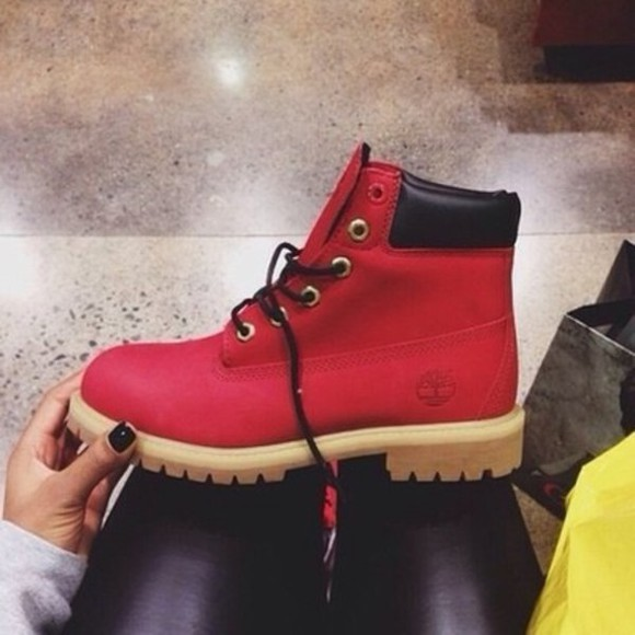 shoes red red shoes timberlands winter boots cute boots shopping timberland boots shoes