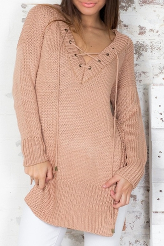 sweater pink knitwear fall outfits fashion style lace up oversized sweater sweater dress cozy warm trendy long sleeves