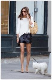 jeans,shorts,leather shorts,black shorts,sweater,white sweater,spring sweater,pumps,sunglasses,bag,camel bag,olivia palermo,celebrity,fashionista