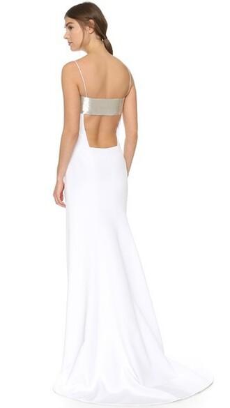 gown sleeveless silver white dress
