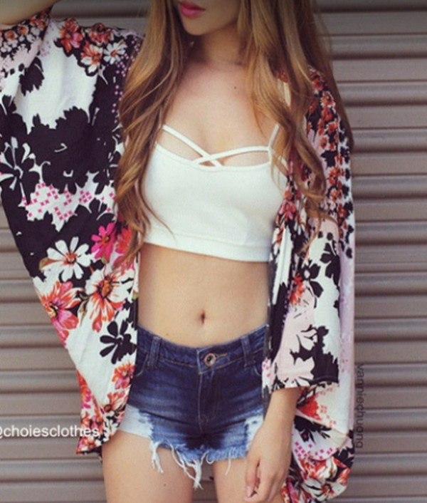 vintage vintage pullover cute top short top jeans denim kimono floral kimono sweat swag swag swag swag swag girl girly jacket