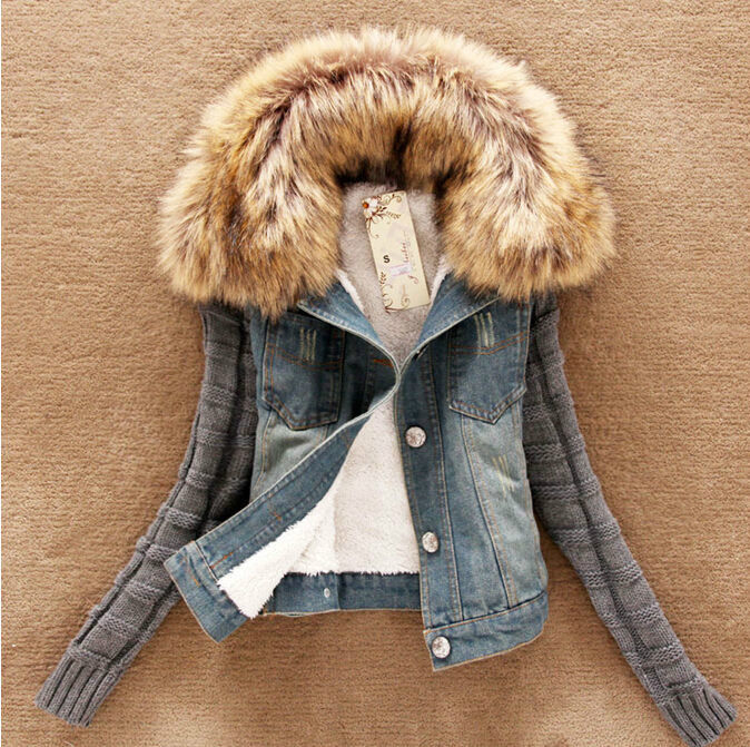 NEW Autumn and winter Ladies Lamb Fur Collar Slim Short Jean Jacket Women Coat