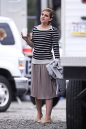 emma watson,stripes,black sweater,white sweater,sweater,fine knit jumper