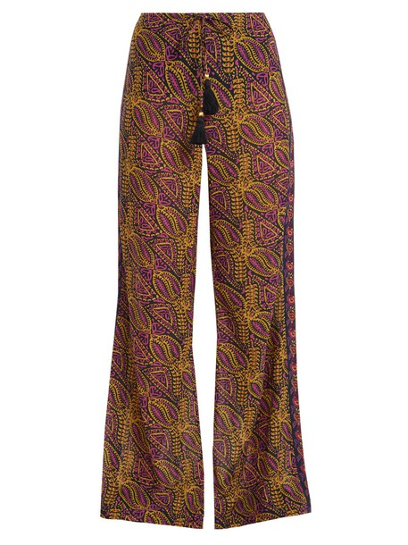 cotton print paisley blue pants