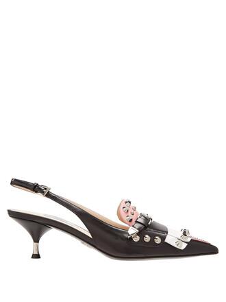 embellished pumps leather black pink shoes