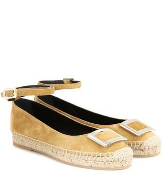 embellished espadrilles suede beige shoes