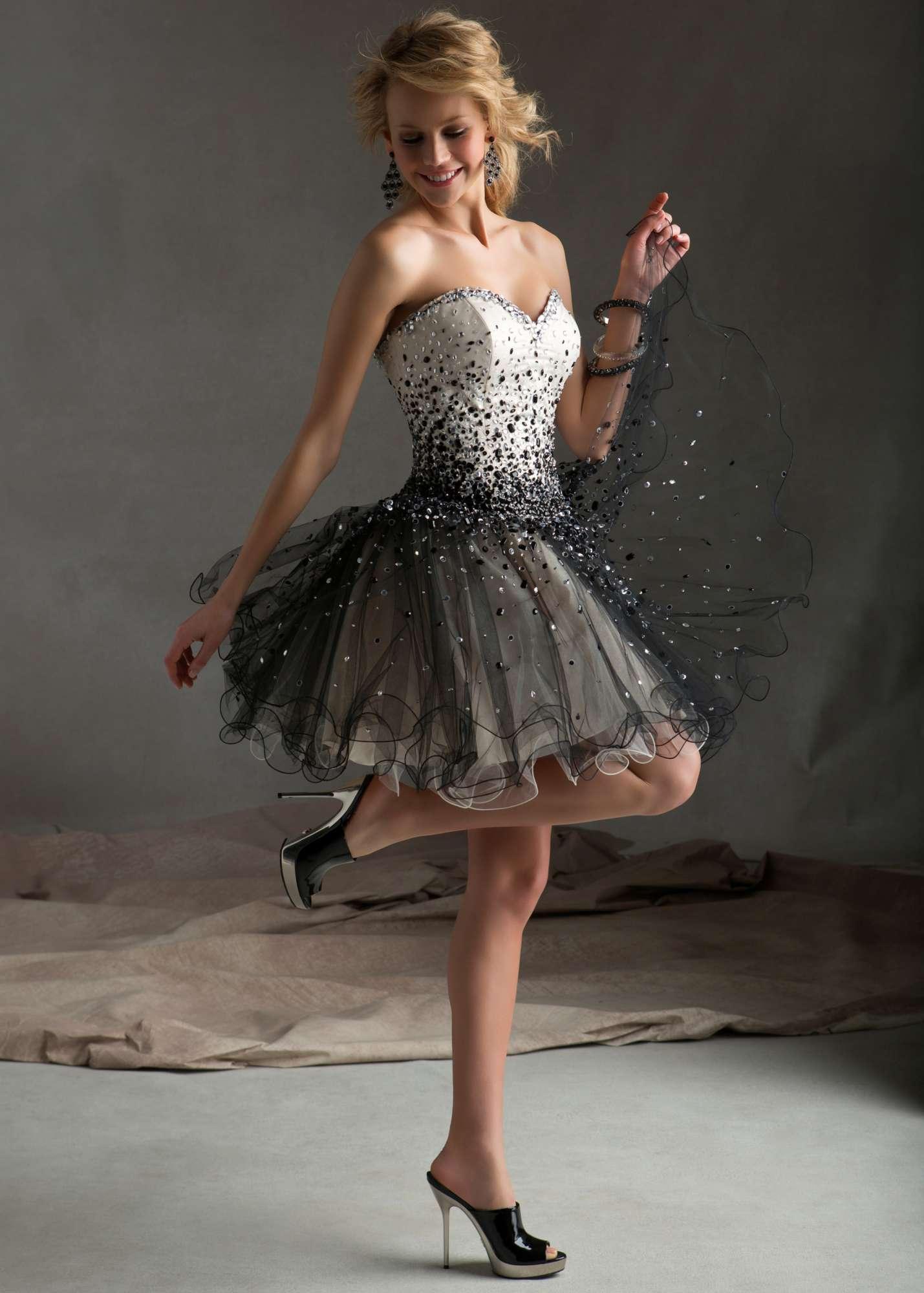Mori Lee 9233 - Champagne/Black Strapless Beaded Dress - RissyRoos.com