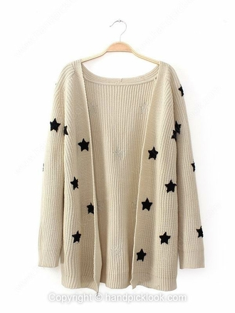 white black black and white cardigan cream cream cardigan white cardigan black and cream stars star print