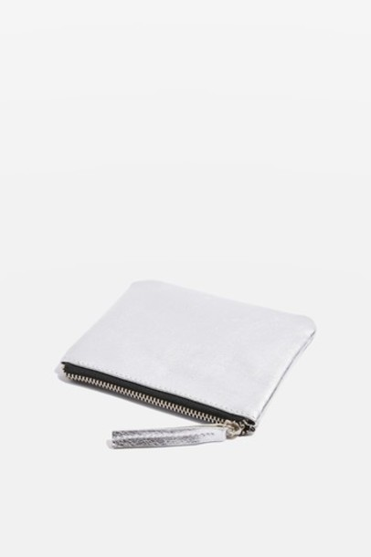 Topshop zip purse silver leather bag