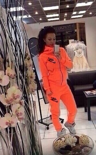 sweater zip jacket hoodie nike tracksuit pants sportswear jumpsuit bottoms sweatpants winter outfits neon orange bright