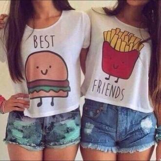 t-shirt hamburger and french fries white t-shirt best friend shirts jazrox