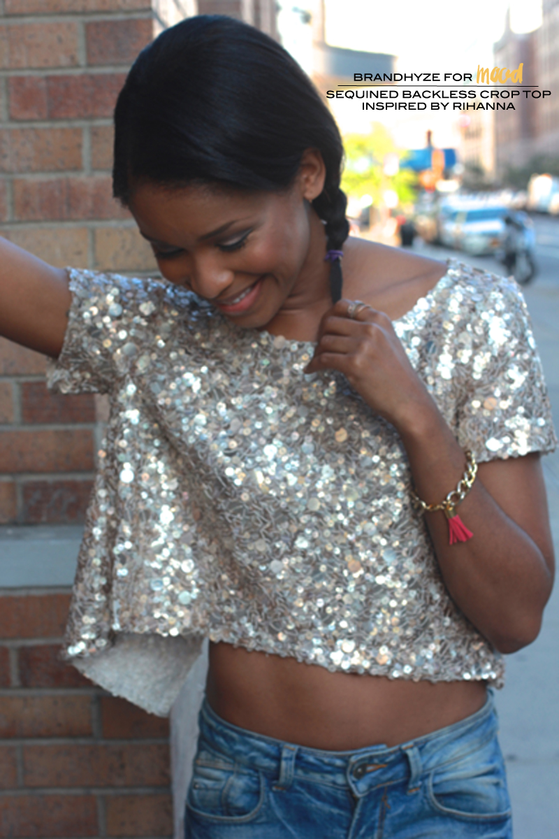 Mood DIY: Sequined Backless Crop Top Inspired by Rihanna «  Mood Designer Fabrics Sewciety Blog