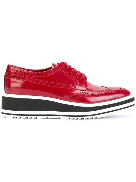 Prada women shoes lace leather red