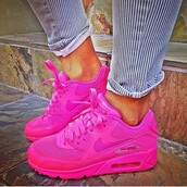 shoes,air max,neon pink,nike,nike air max 90 hyperfuse,full pink,pink,sneakers,neon pink airmaxes