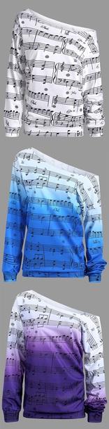 top musical note sweatshirt sweater blue shirt