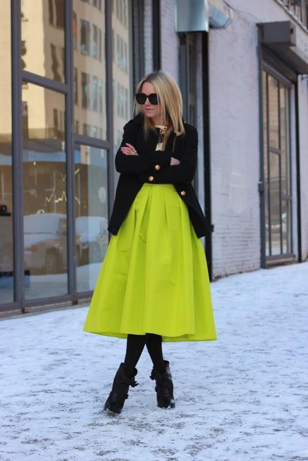 shiny lime green puff pleat midi skirts winter