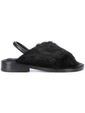 wood fur women sandals leather black shoes