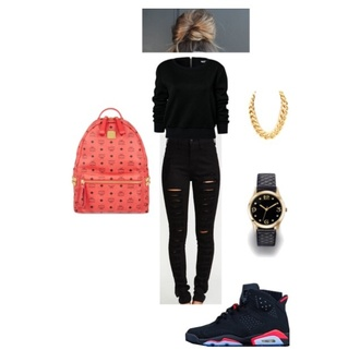 black top jeans hairstyles bag sweater black jeans ripped jeans destroyed jeans backpack red bag jordan shoes black watch watch necklace chain