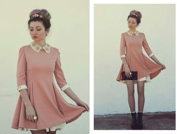 dress dusty pink collared dress
