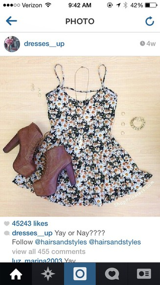 floral dress cute brown heels black and white style outfit
