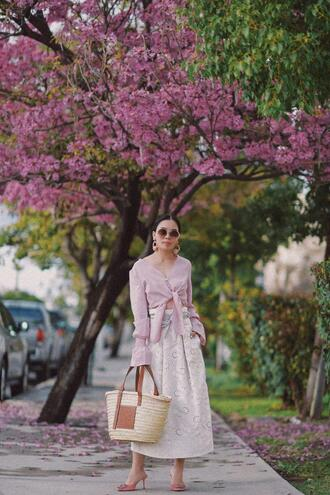 hallie daily blogger top skirt sunglasses bag jewels spring outfits tie-front top midi skirt basket bag pumps