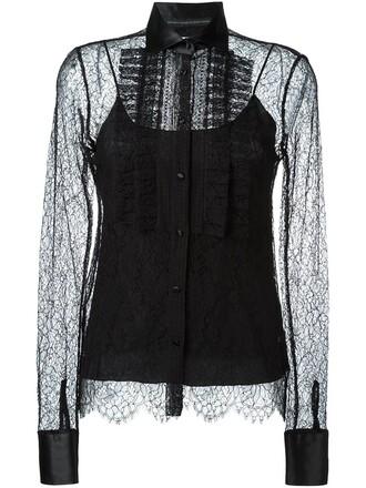 blouse sheer women lace cotton black silk top